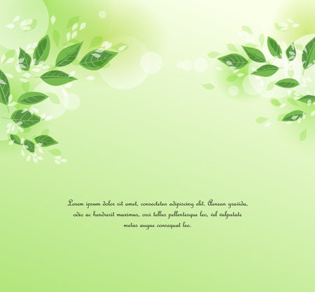 Vector illustration Natural background with green leaves. Fresh green tree leaves Stock Illustratie