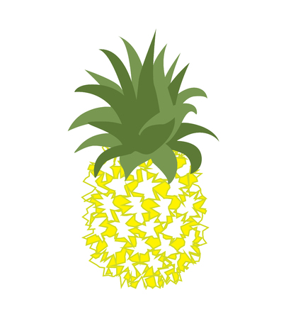 Vector illustration of tropical fruit pineapple. Fruit symbol