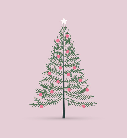Vector illustration of a Christmas tree. Happy Christmas greeting card Vettoriali