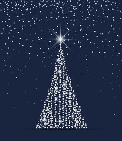 Vector illustration Christmas tree from lights. Christmas tree on blue background Vettoriali