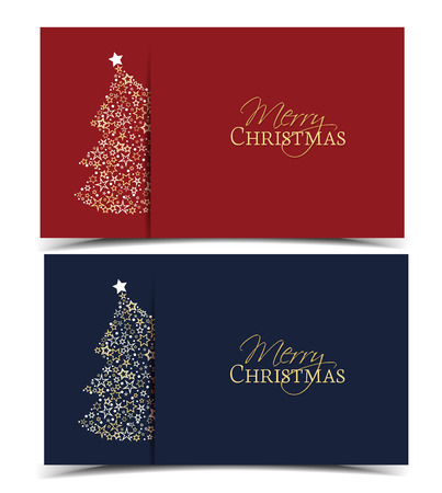 Vector illustration of a Christmas tree decoration made from stars. Happy Christmas background, banners