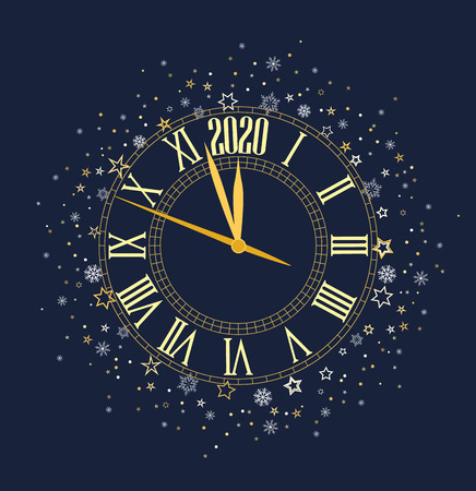 Happy New Year 2020, vector illustration Christmas background with clock showing year