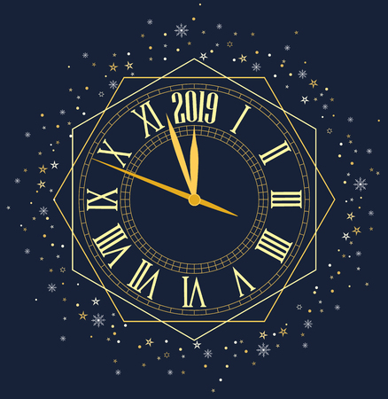 Happy New Year 2019, vector illustration Christmas background with clock showing year