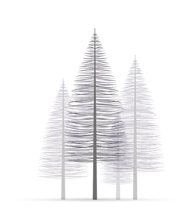 Vector illustration christmas tree. Natural background with silhouette of a trees. Christmas forest