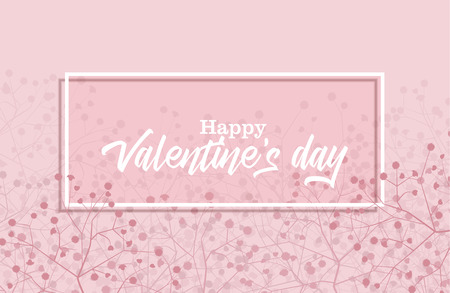 Vector illustration of flowers on a colorful background. Happy Valentine s Day