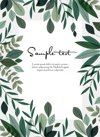 Vector illustration of green leaves. Natural background with place for text Çizim
