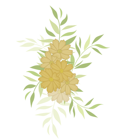 Vector illustration silhouette flowers with leaves. Floral background Çizim
