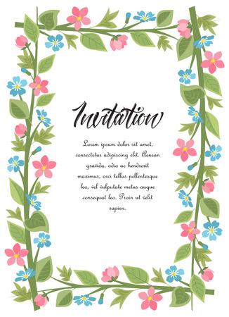 Vector illustration frame flowers with leaves. Floral background Çizim
