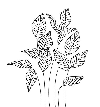 Vector illustration Natural background with silhouette leaves. Fresh leaves