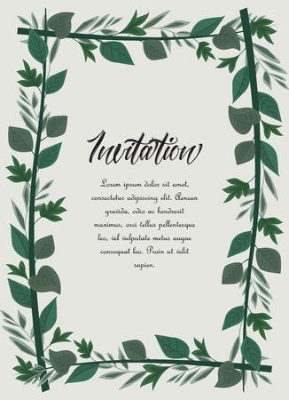 Vector illustration frame green leaves. Floral background Çizim