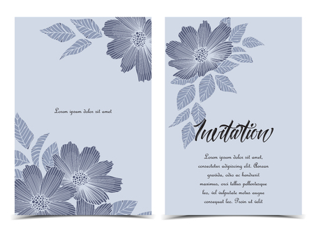 Vector illustration silhouette flowers with leaves. Floral background. Set of greeting cards Çizim