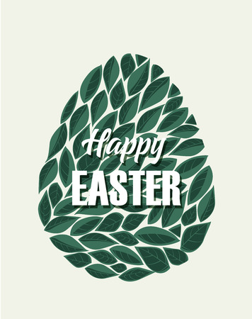 Vector illustration of Easter eggs. Natural background with leaves