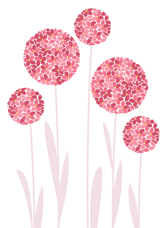 Vector illustration of colorful flowers. Summer floral decorations on a white background. Çizim