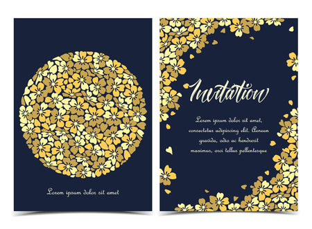 Vector illustration of a circle-shaped flower. Floral background. Set of greeting cards