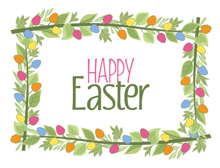 Vector illustration of Easter frame with branches and leaves, Easter eggs
