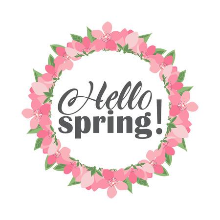 Vector illustration of floral frames. Hello spring, pink flower