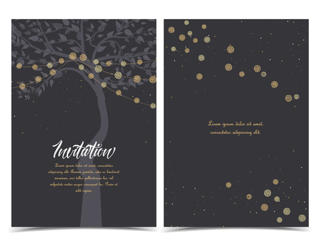 Vector illustration of light cords on a dark background. String Lights. Cheerful party and celebration