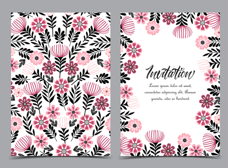 Vector illustration of a flowers with leaves. Floral background. Set of greeting cards Çizim