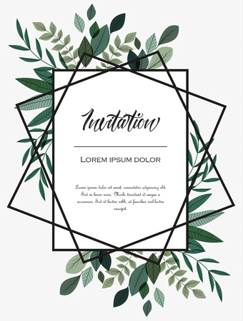 Vector illustration invitation card template with branches and leaf decoration.