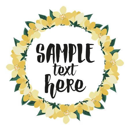Vector illustration of floral frames. Hello summer, yellow flower Çizim