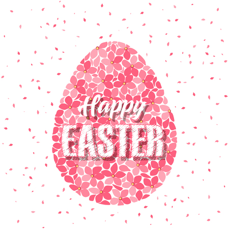 Vector illustration of Easter egg with flowers. Easter background