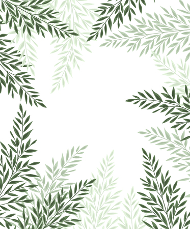 Vector illustration Natural background with green leaves. Fresh green leaves