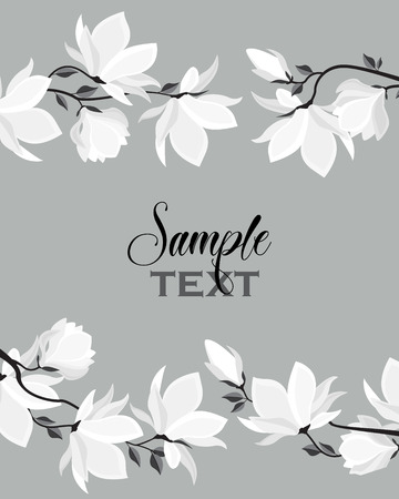 Vector illustration white flowers. Spring magnolia flowers branch. Floral background with space for text Çizim