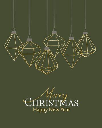 Vector illustration of Diamond Christmas balls on green