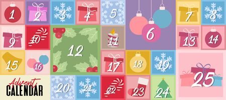 Vector illustration Christmas advent calendar.