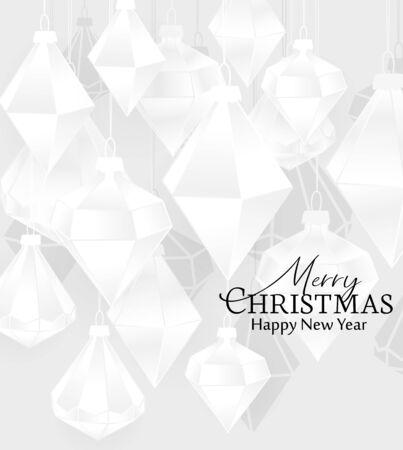 Vector illustration of Diamond Christmas balls on red background. Merry Christmas card 向量圖像