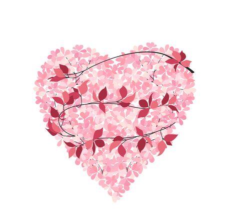 Vector illustration of leaf with heart on white background. Postcard. Wedding floral decoration