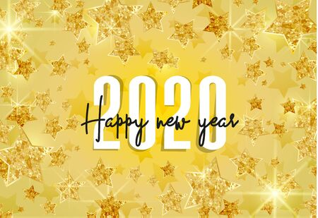 Vector illustration of abstract gold stars for 2020 background. Happy New Year