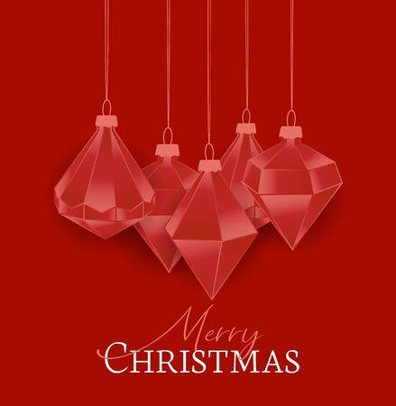 Vector illustration of Diamond Christmas balls on red background. Merry Christmas card Illustration