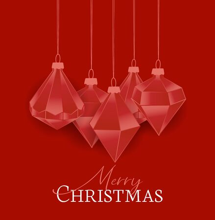 Vector illustration of Diamond Christmas balls on red background. Merry Christmas card Stock Illustratie