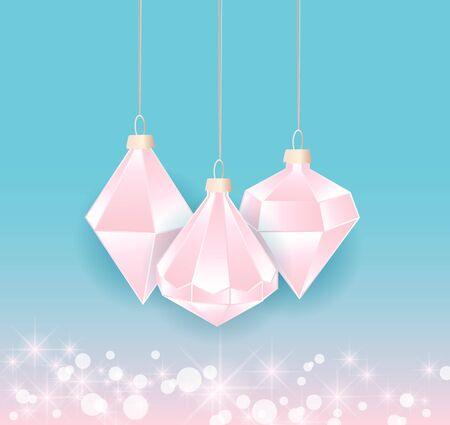 Vector illustration of Diamond Christmas balls on color background. Merry Christmas card
