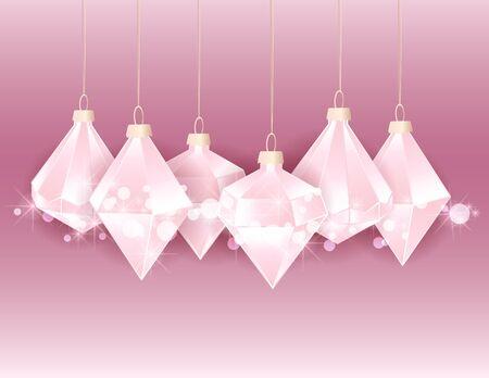 Vector illustration of Diamond Christmas balls on pink background. Merry Christmas card