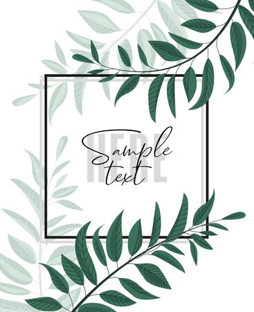 Vector illustration floral greenery card design. Forest leaves. Wedding invite poster invitation. Green leaves border