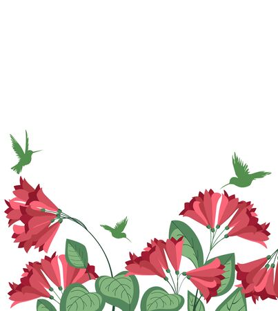 Vector illustration tropical nature background with flowers and hummingbirds