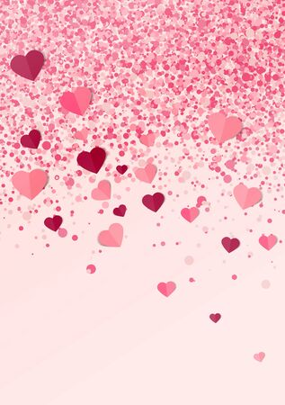 Vector illustration background with hearts. Beautiful confetti hearts falling on background. Invitation Template Background Design Ilustração