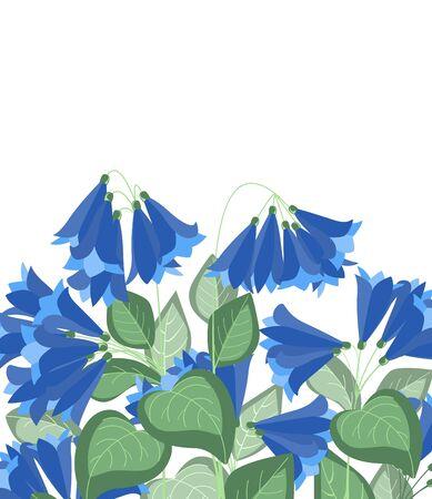 Vector illustration tropical nature background with flowers and leaves Ilustração