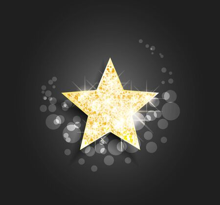 Vector illustration of golden star. Conceptual design, poster, greeting card, party invitation, banner