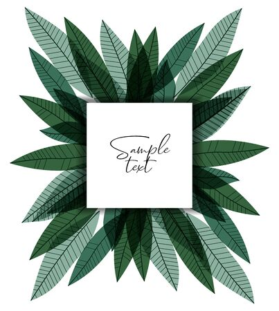 Vector illustration of green leaves. Natural background, invitation card template with branches and leaf decoration.