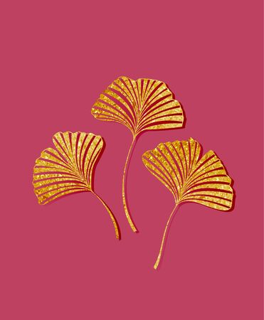 Vector illustration of ginkgo biloba leaves. Background with golden leaves. Ginkgo branches for invitations