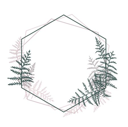 Vector illustration of bracken. Natural background, invitation card template with branches, leaf decoration. Decorative frame