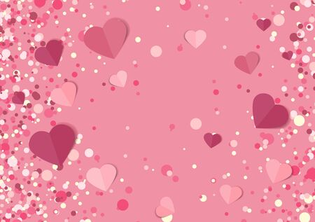 Vector illustration background with hearts. Beautiful confetti hearts falling on background. Invitation Template Background Design, Valentines Day or Mothers Day Ilustração