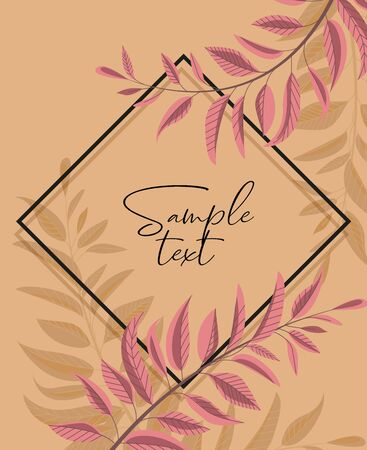 Vector illustration floral greenery card design. Forest leaves. Wedding invite poster invitation. Green leaves border Foto de archivo - 138473082