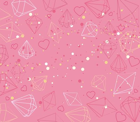 Vector illustration of greeting card with jewels, diamant, hearts. Beautiful confetti hearts falling on background. Invitation Template Background Design, Valentines Day or Mothers Day