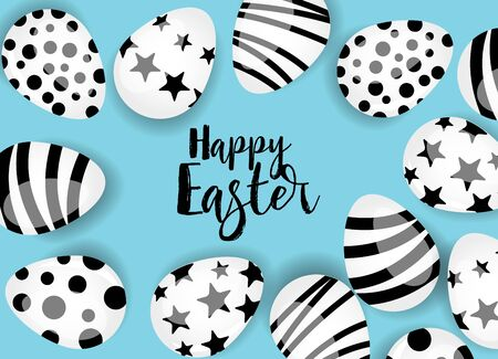 Vector illustration Happy Easter background. Top view of easter eggs. Greeting cards and decoration for Easter Foto de archivo - 138473088