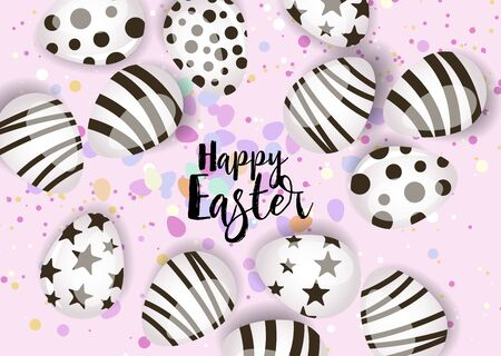Vector illustration Happy Easter background. Top view of easter eggs. Greeting cards and decoration for Easter Reklamní fotografie - 138473091