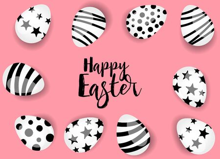 Vector illustration Happy Easter background. Top view of easter eggs. Greeting cards and decoration for Easter Reklamní fotografie - 138473092